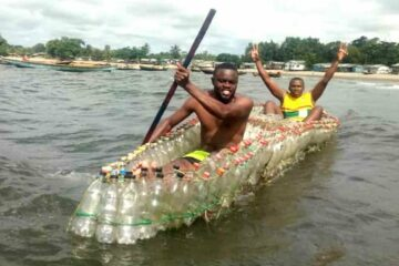 This Young Man from Cameroon Uses Plastic Bottles to Make Canoes