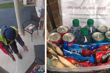 Delivery Guy Gets Overexcited after He Sees the Snacks a Homeowner Left for Him