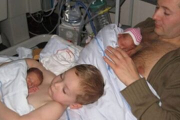 Touching Photo of a Young Boy Helping His Father Give Skin-to-Skin Contact to Premature Twins Goes Viral