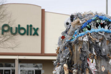 15-Feet Tall 'Garbage Monster' Set in Front of Publix to Shame Them for Using Plastic Bags