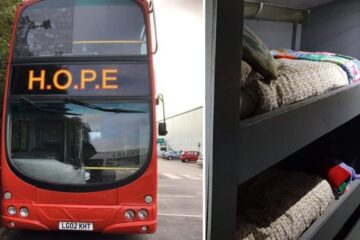 Double-Decker Bus in Wales Transformed into Bedroom with Bunk Beds for Homeless People