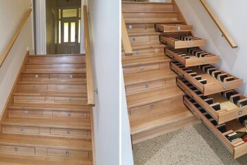Builder Transforms Staircase into Wine Cellar in a Week & a Half Using Bunnings Drawers