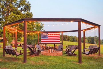 This DIY Backyard Pergola With Swings And Fire Pit Is The Perfect Piece For Friends And Family