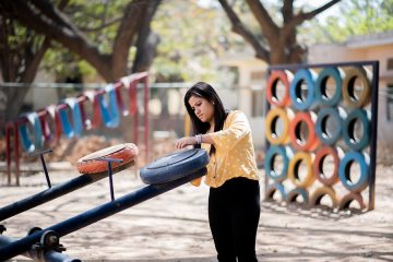 Woman Uses Old Tires to Make Beautiful Playgrounds for Indian Children